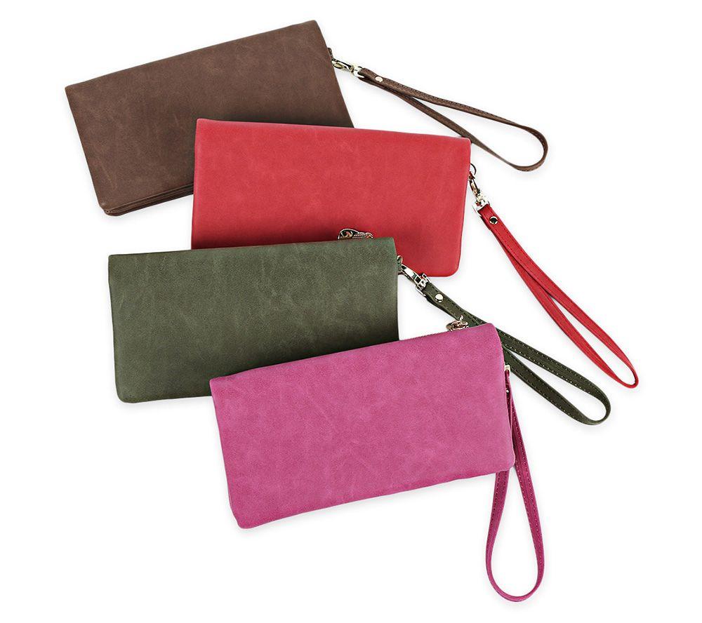 Zip Around Faux Suede Wristlet Wallet