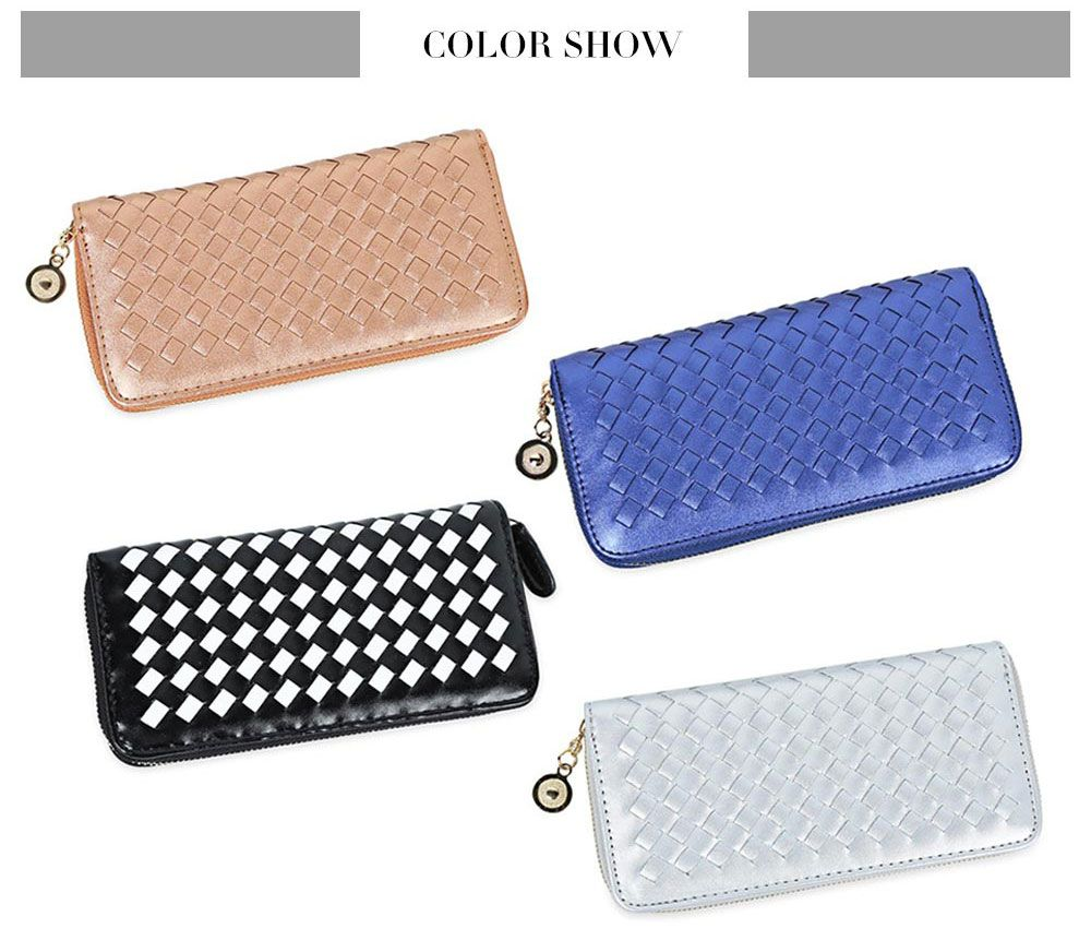 Women Hand-woven Cross Design Chain Long Section Handbag Card Wallet Purse