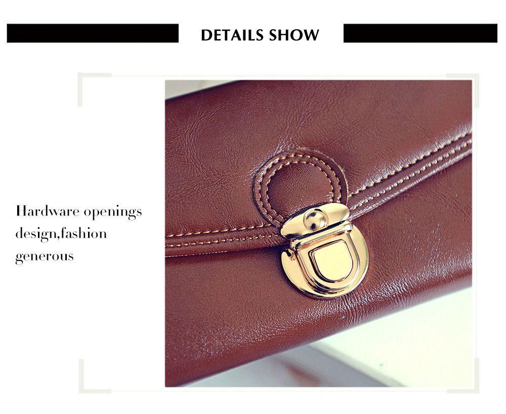 Women Long Section Triple Fold Lock Handbag Purse