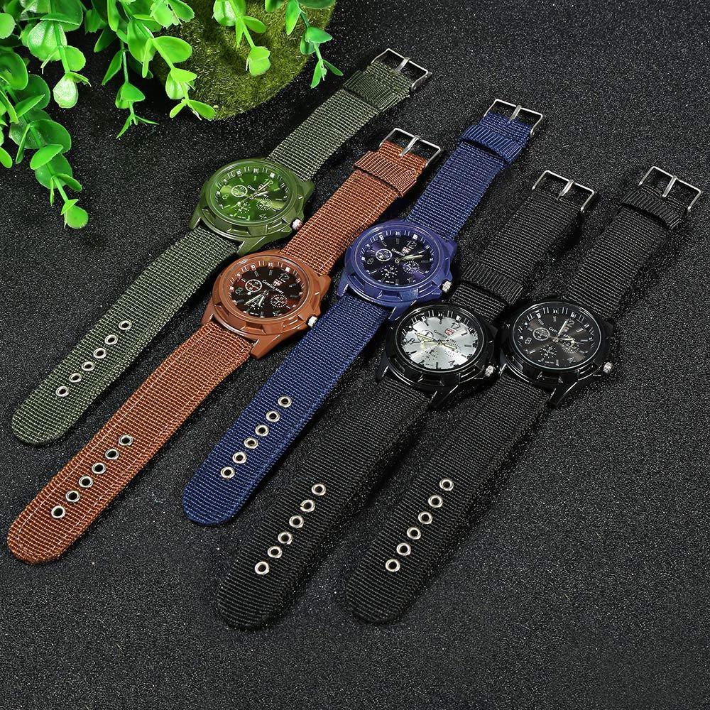 Gemius Army Men Quartz Watch Knitted Canvas Band Sport Wristwatch