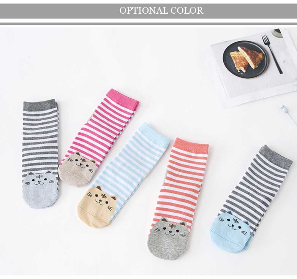 10 Pairs Cartoon Cat Stripe Design Cotton Socks for Girls