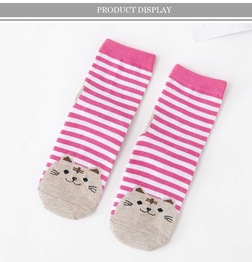 10 Pairs Cartoon Cat Stripe Design Cotton Socks for Girls