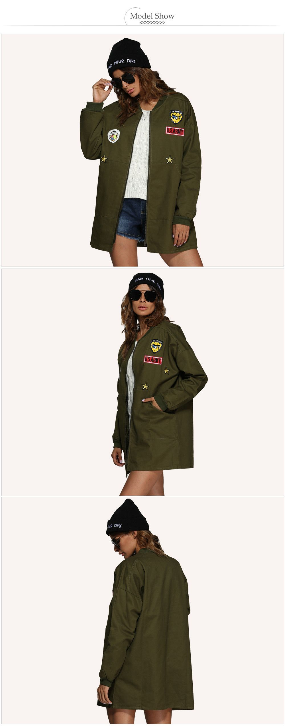 Trendy Stand Collar Badge Patch Women Coat