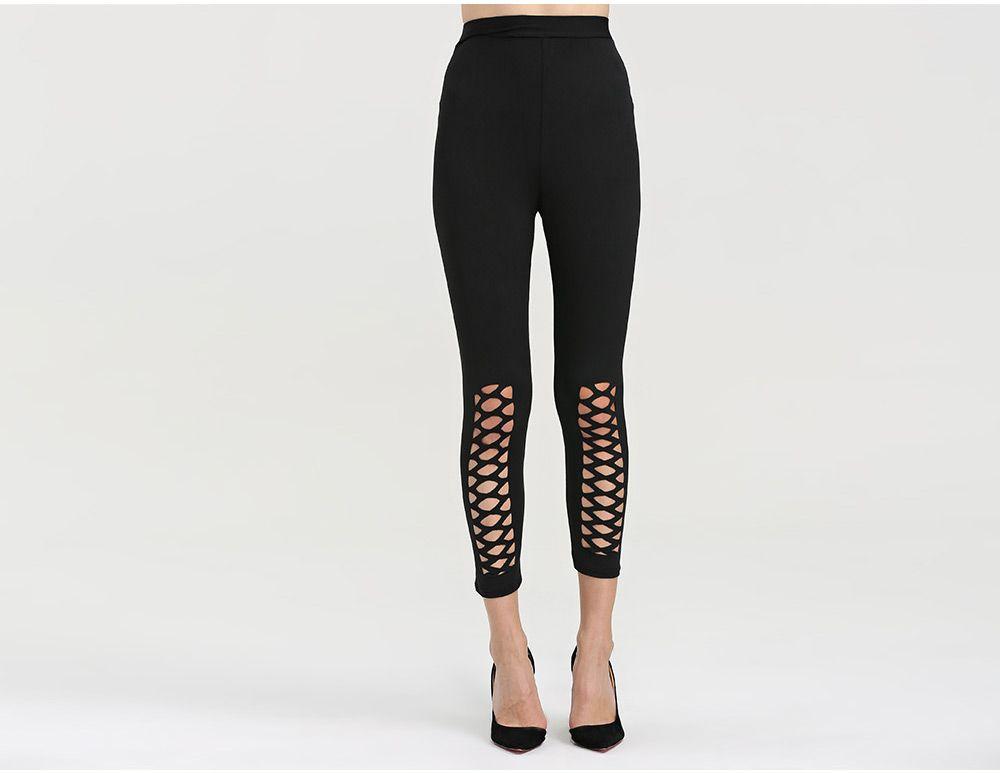 Fashion High Elastic Hollow Sports Women Bottom Pants