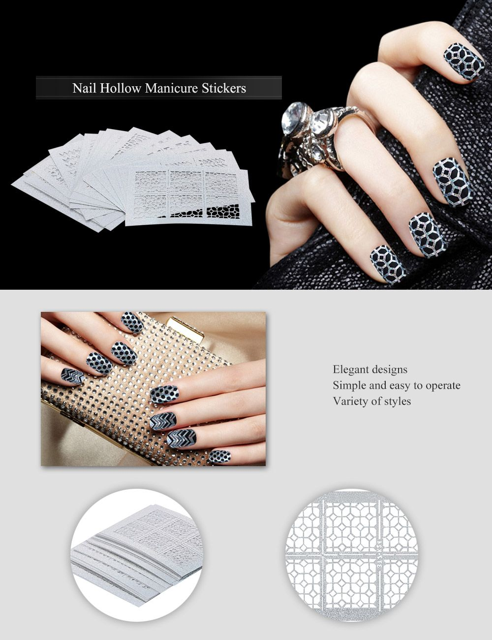 24pcs Nail Vinyls Hollow Irregular Grid Stencil Reusable Manicure Stickers