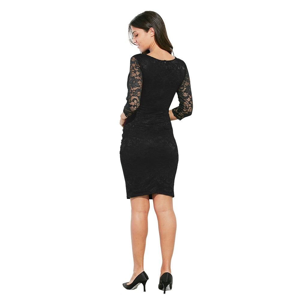 Elegant Sweetheart Neck Lace Spliced Color Block Bodycon Women Dress