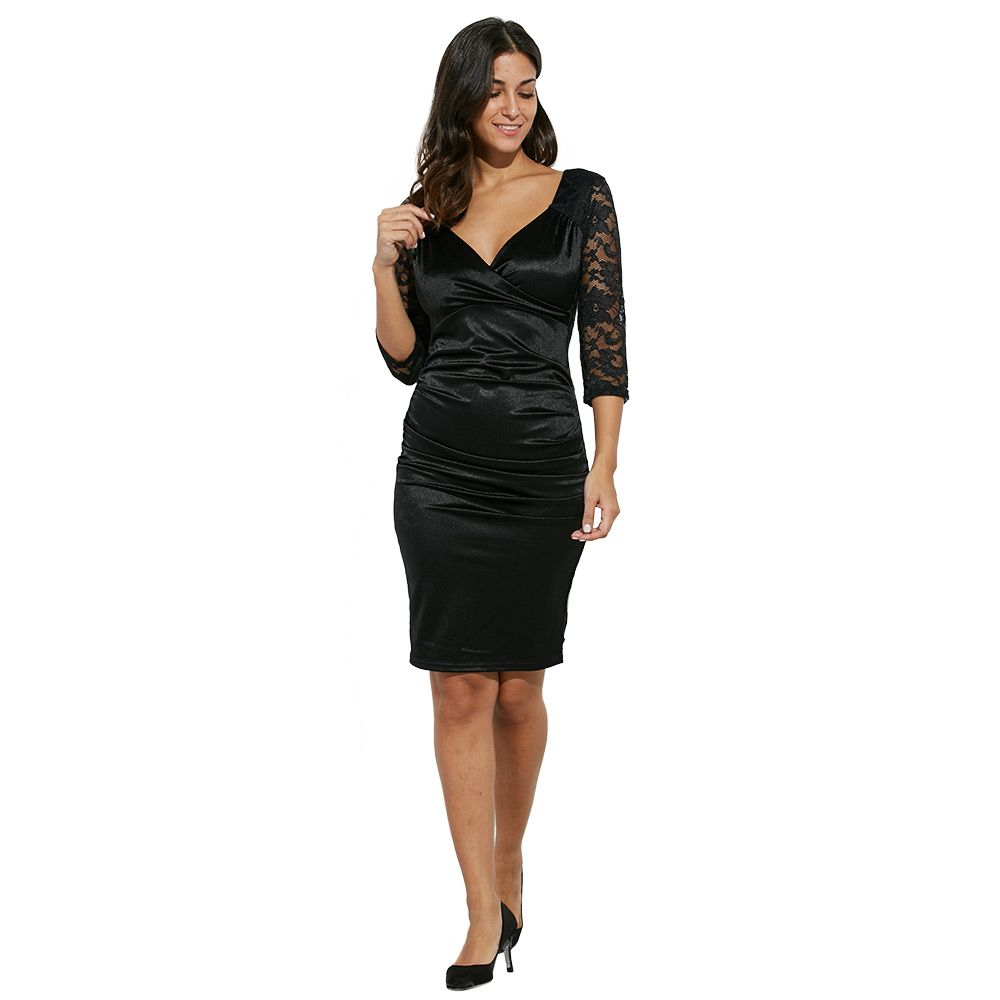 Midi Bodycon Dress With Lace Sleeves