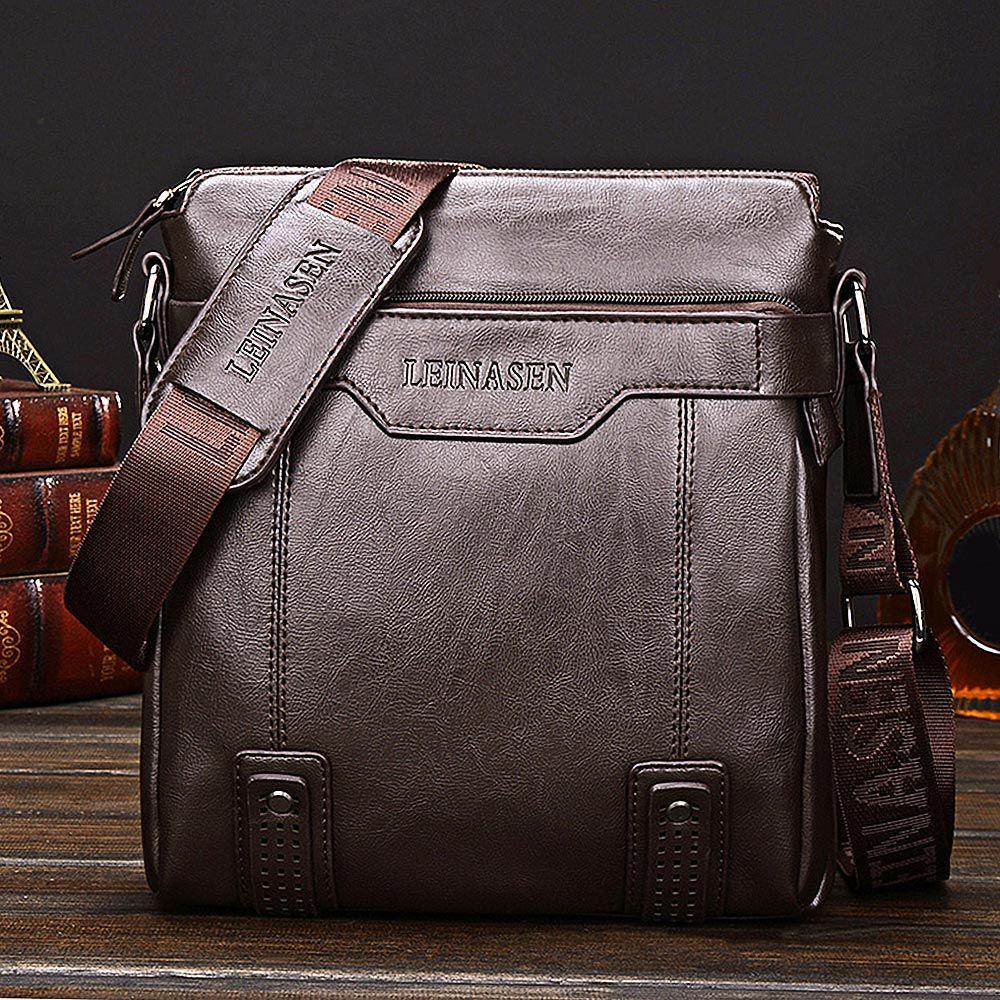 LEINASEN PU Leather Waterproof Men Briefcase Shoulder Bag