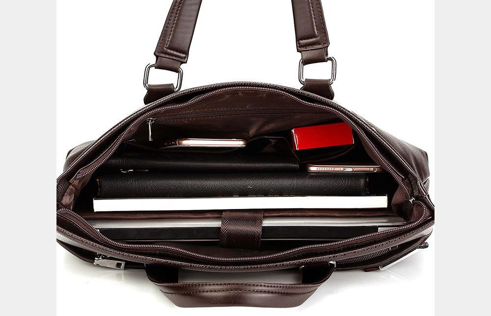 LEINASEN Classic Waterproof PU Men Convertible Tote Bag