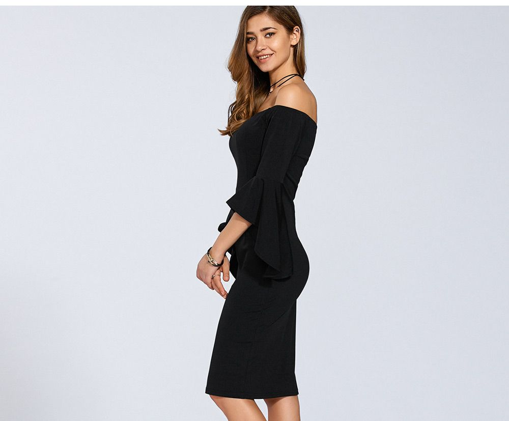 Brief Half Trumpet Sleeve Off The Shoulder Knitted Sheath Dress for Women