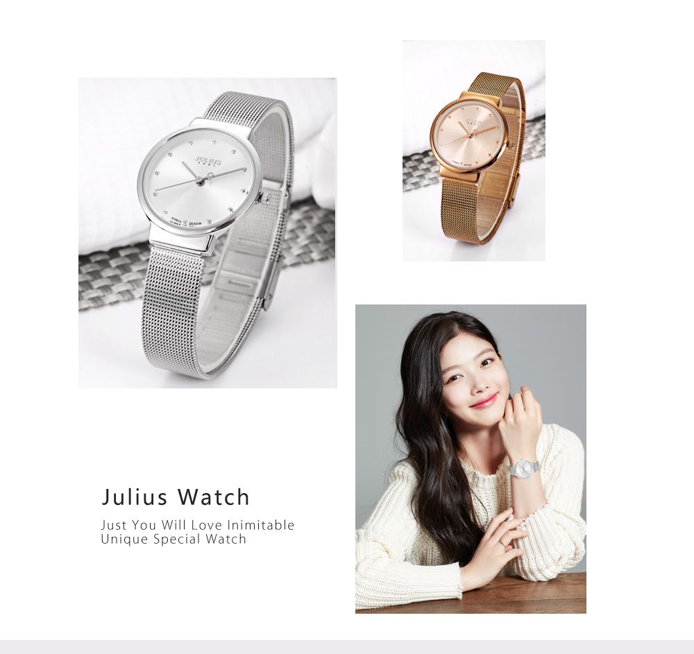 Julius JA - 426L Female Ultrathin Stainless Steel Mesh Band Quartz Wrist Watch