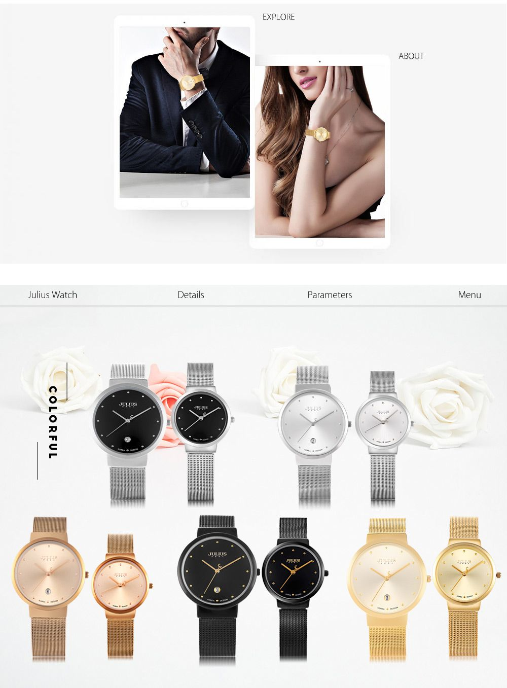 Julius JA - 426 Couple Ultrathin Stainless Steel Mesh Band Quartz Wrist Watch