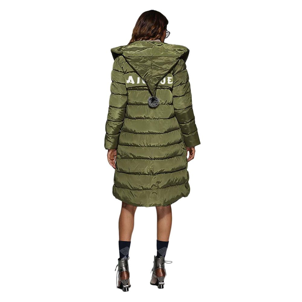 Trendy Hooded Patchwork Double Pocket Women Down Coat