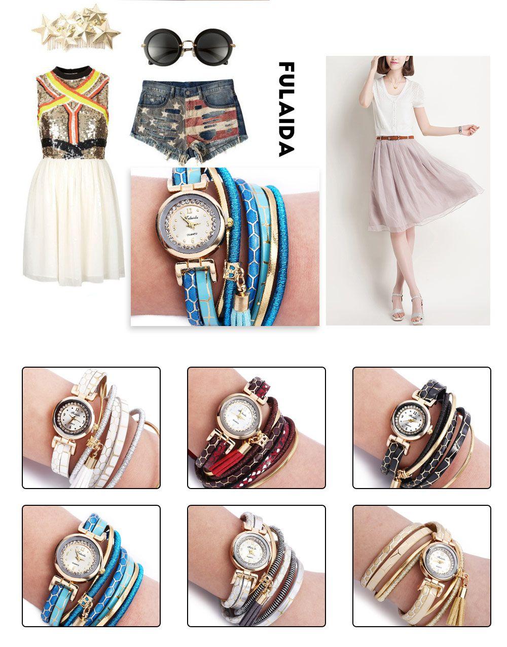FULAIDA Women Quartz Watch Rhinestone Tassel Decoration Leather Band Wristwatch