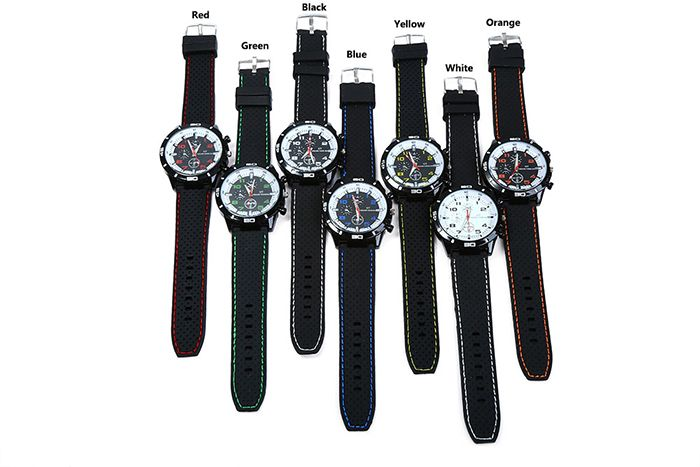 Men Military Sports Quartz Watch Silicone Strap Decorative Sub-dials White Bezel