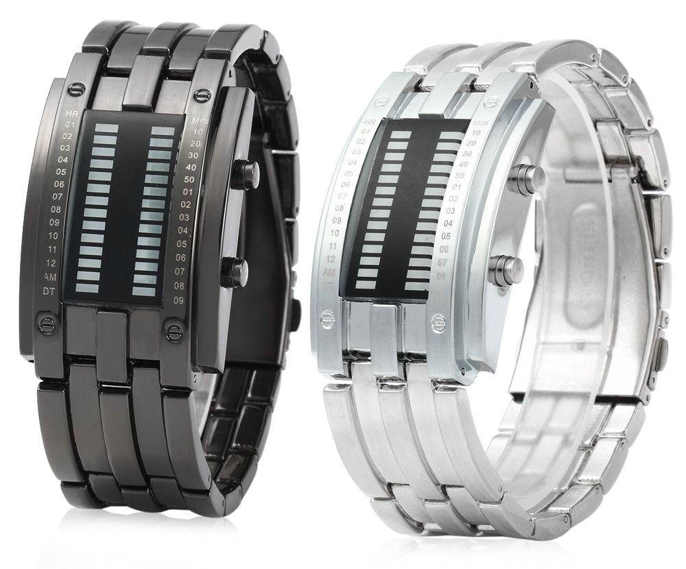 Men Date Binary Digital LED Bracelet Watch Rectangle Dial