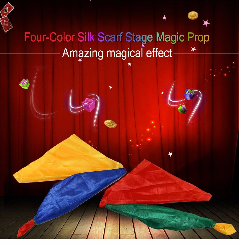 Four-color Silk Scarf Excellent Stage Magic Prop