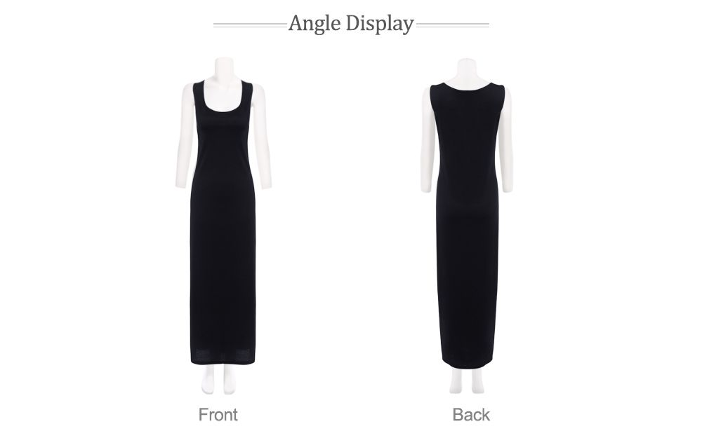 Brief Round Collar Sleeveless Solid Color Dress for Women