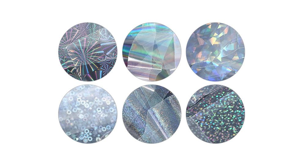 6pcs Transparent Nail Foils Starry Sky Glitter Nail Art Transfer Sticker Paper