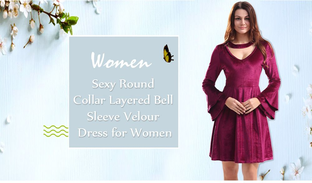 Sexy Round Collar Cut Out Layered Bell Sleeve Velour Women Dress