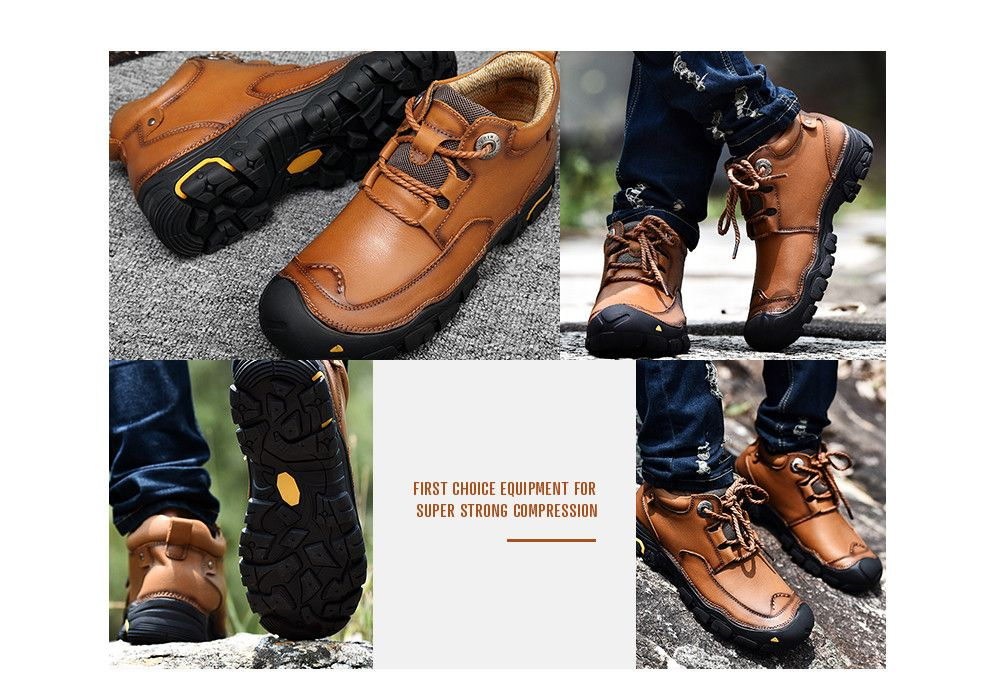 Fashion Anti-slip Mid Top Leather Boots for Men