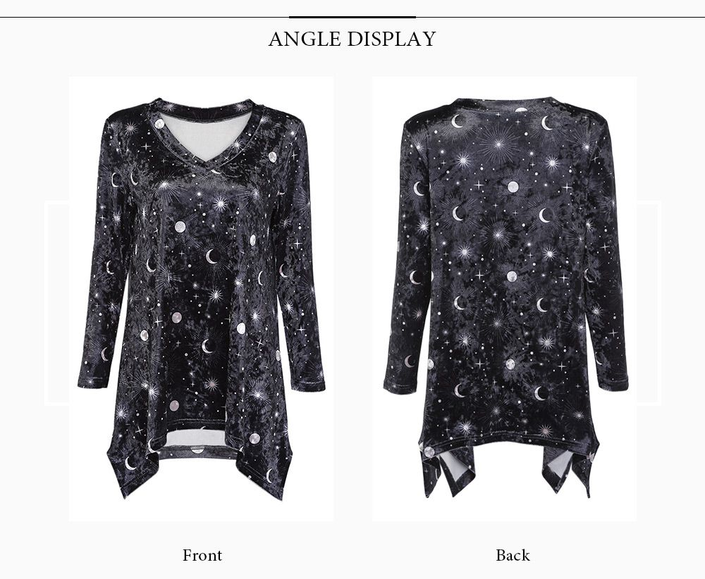 Trendy V Neck Long Sleeve Moon Star Print Velour Asymmetric Women T-shirt