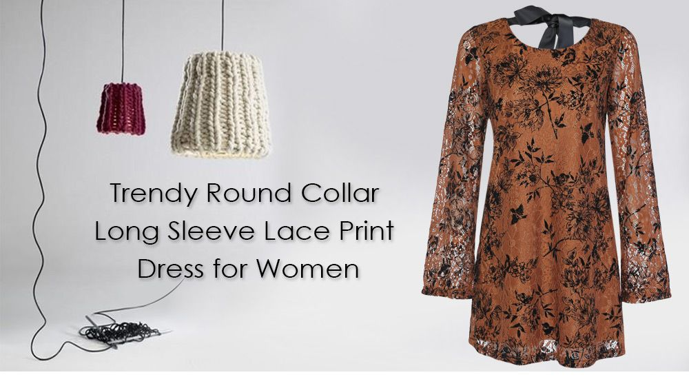 Trendy Round Collar Long Sleeve Lace Floral Print Tied Strap Women Dress