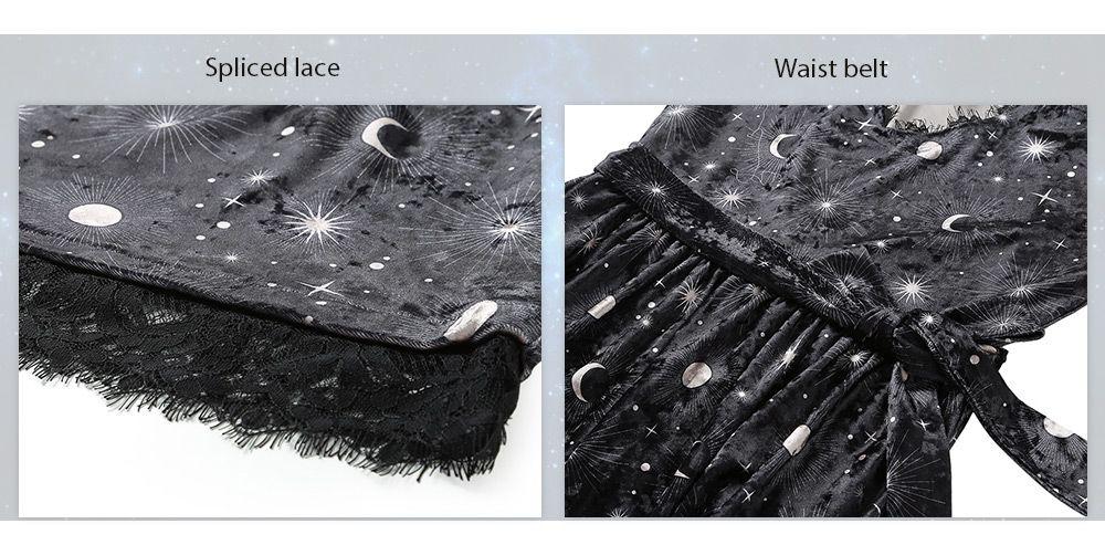 Trendy V Neck Long Sleeve Choker Spliced Lace Belted Moon Print Women Velour Dress
