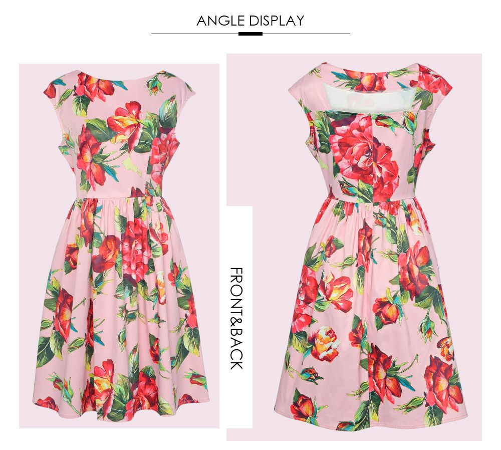 Trendy Boat Neck Cap Sleeve Floral Print A-line Zipper Women Dress