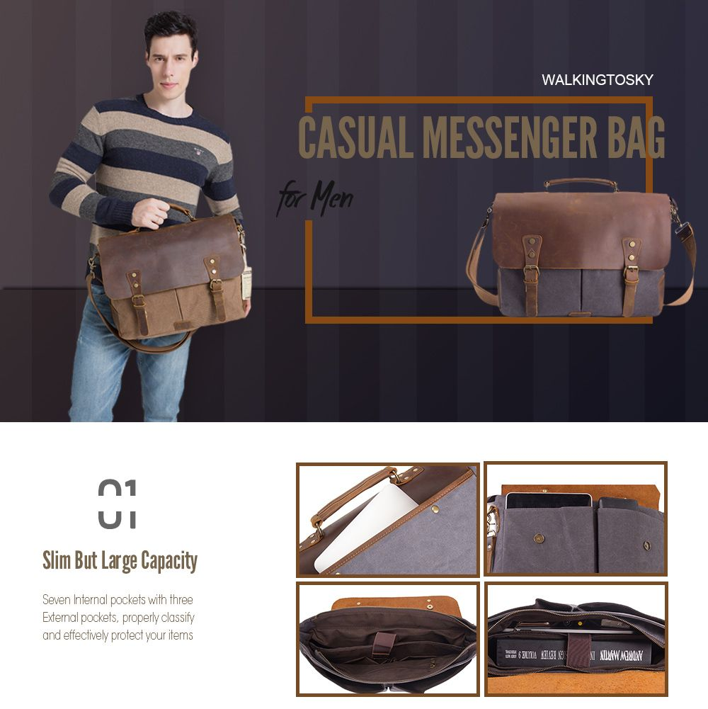 WalkingToSky Vintage Canvas Messenger Shoulder Bag for Men