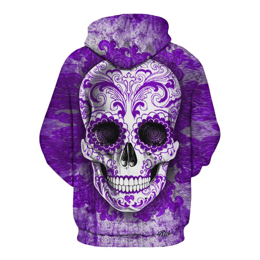 3D Digital Skull Print Pullover Hoodie