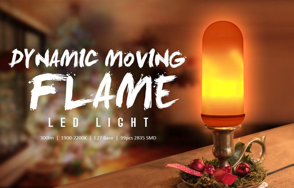 Lampwin JS - H - 02 - 01 Flame Effect Fire Light Bulb 2 Modes E26 E27 LED Flame Effect Lamp Fire Flickering Bulb for Christmas / Outdoor Garden / Hotel / Bars / Home Decoration