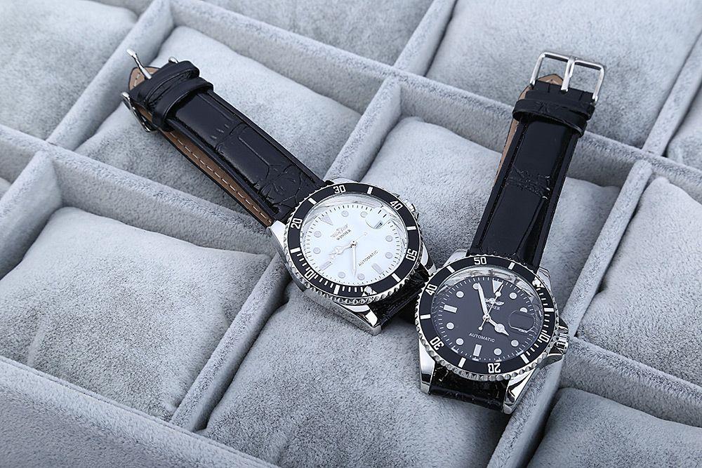 Winner W098 Men Mechanical Watch Analog Leather Strap Date Display