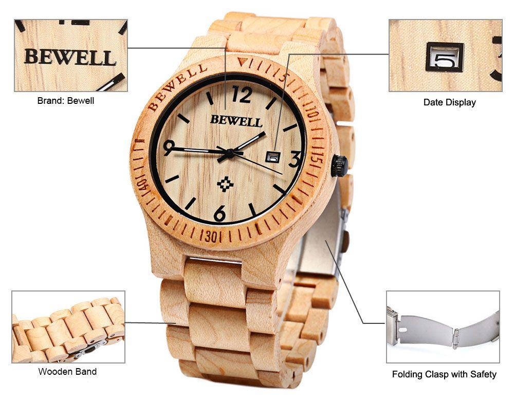 Bewell ZS - W086B Wood Men Watch Analog Quartz Movement Date Display