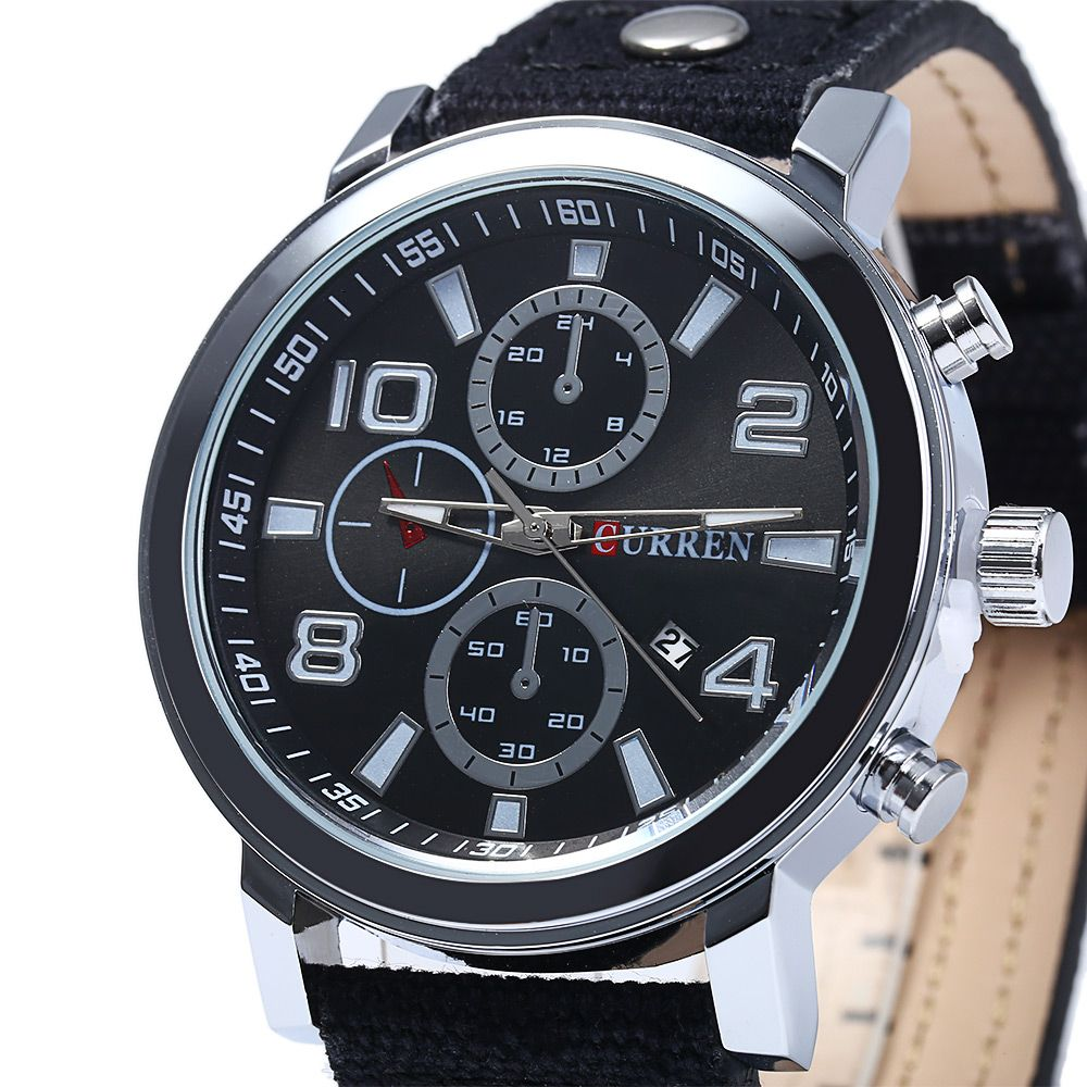 Curren 8199 Male Quartz Watch with Canvas + Leather Band