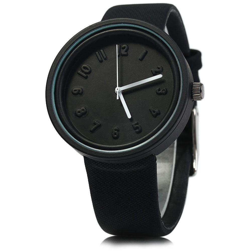 MILER A8289 Leather Band Quartz Watch Colloid Dial for Men