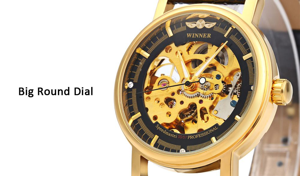 Winner W088 Men Mechanical Hollow Out Watch Leather Band Round Dial