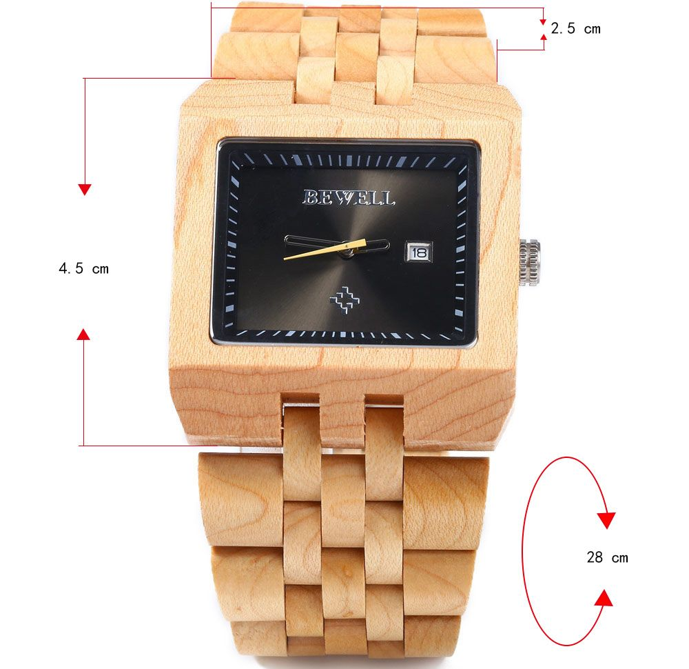 Bewell ZS - W017A Quartz Men Watch Wooden Band Analog Date Display
