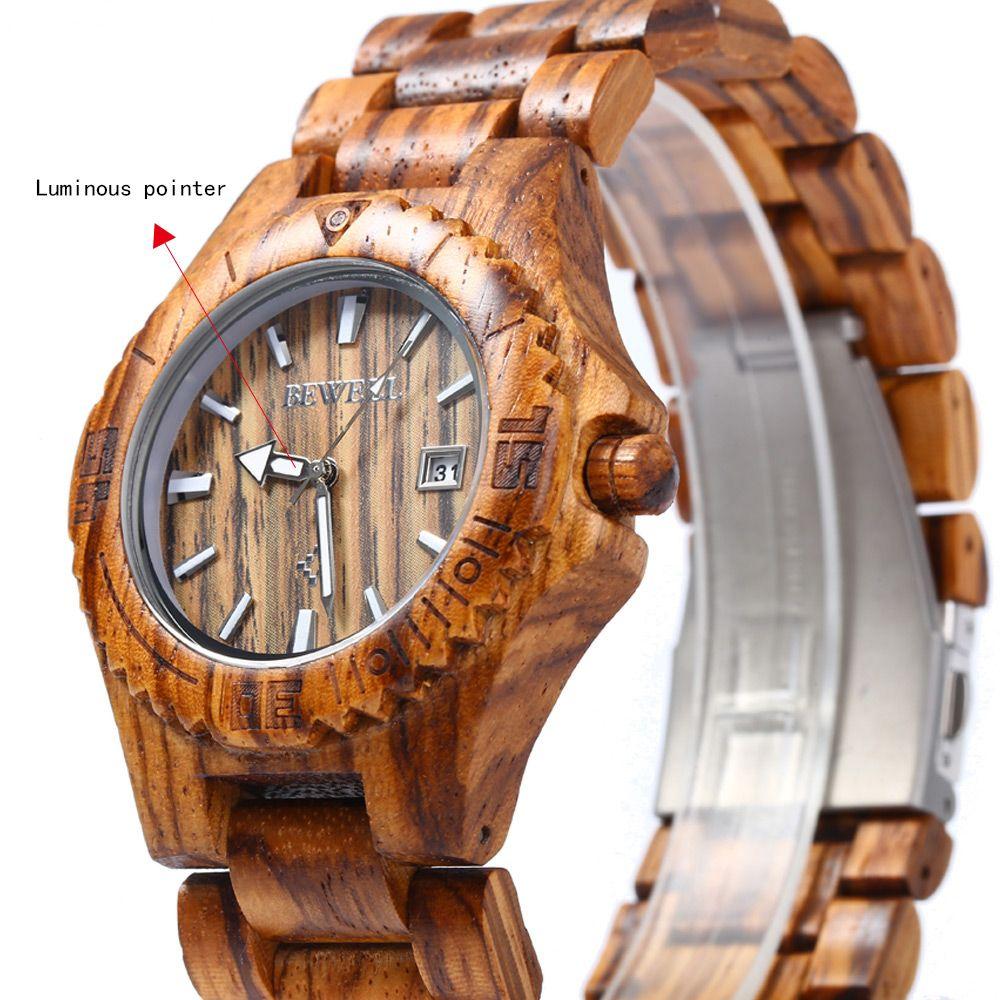 Bewell ZS - W020C Wooden Quartz Men Watch Date Dispaly Luminous Pointer