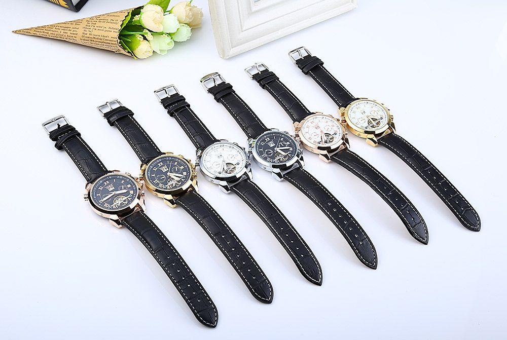 JARAGAR H057M Men Tourbillon Automatic Mechanical Watch Leather Strap Date Week Month