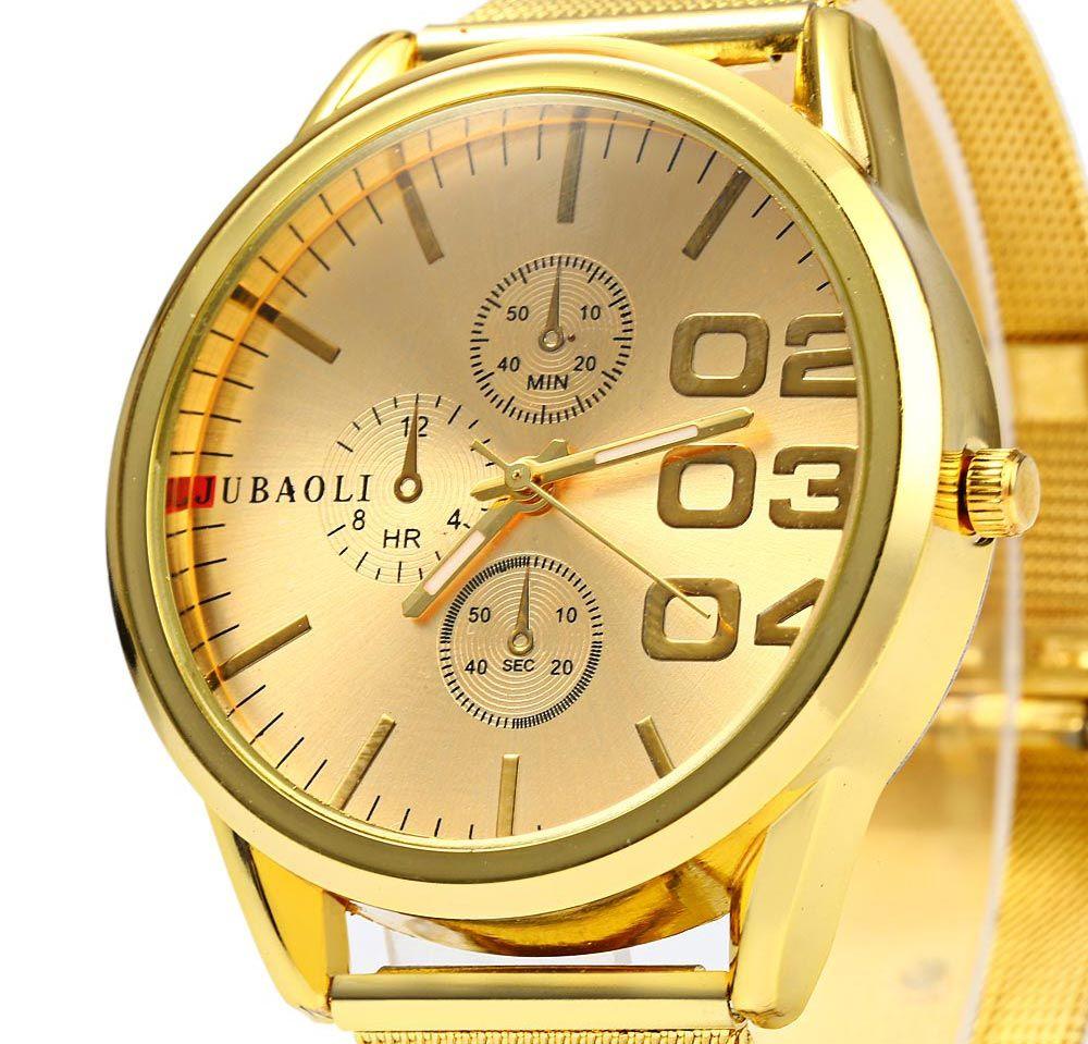 JUBAOLI Men Steel Band Quartz Watch with Decorative Sub-dials