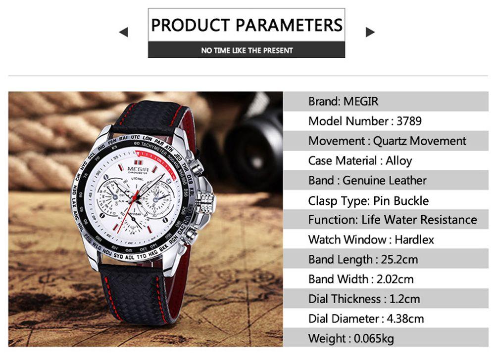Megir 3789 Men Quartz Watch with Decorative Sub-dial