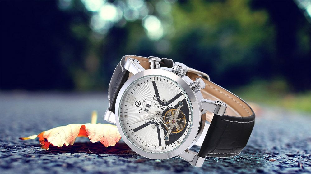 Forsining Male Tourbillon Auto Mechanical Watch Leather Strap with Date Display