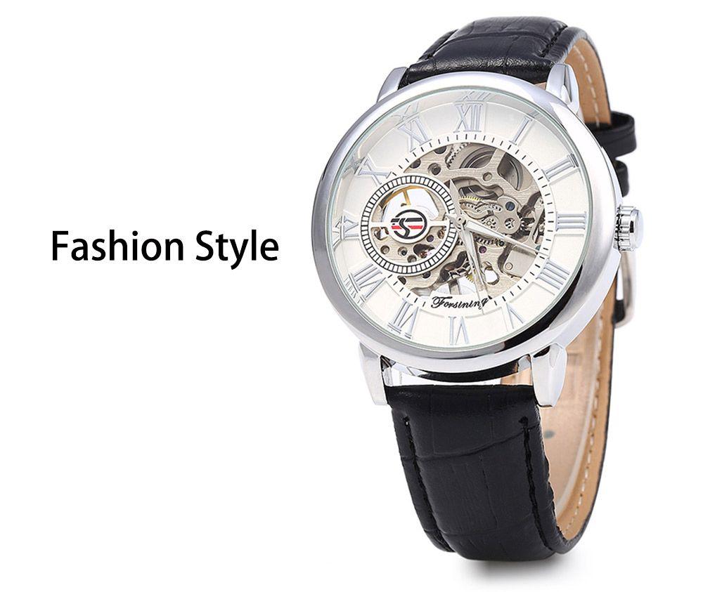 Forsining Men Auto Mechanical Leather Wrist Watch