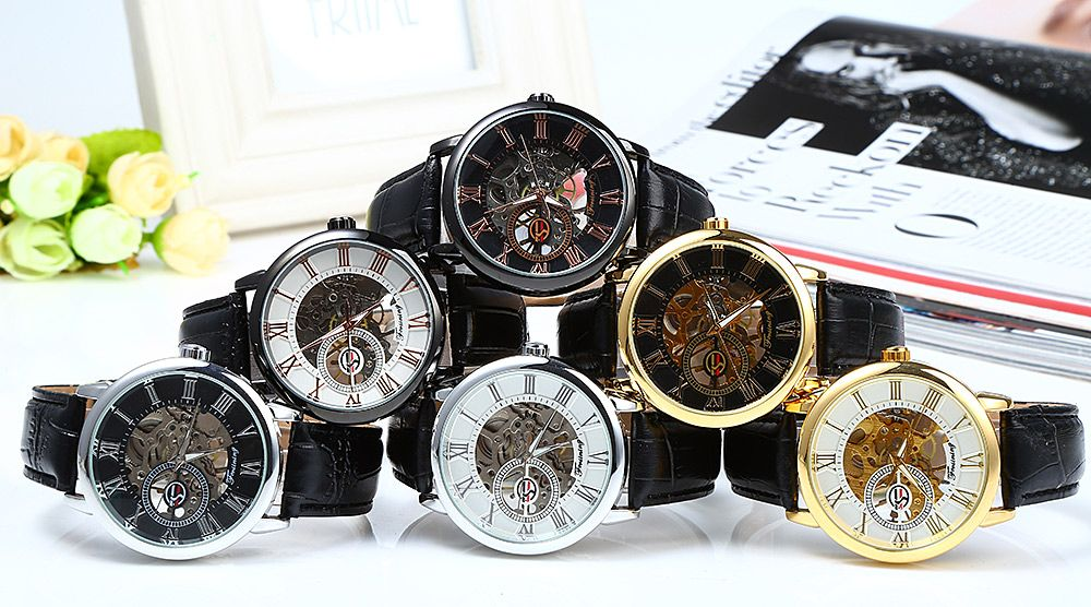Forsining Men Auto Mechanical Leather Wrist Watch