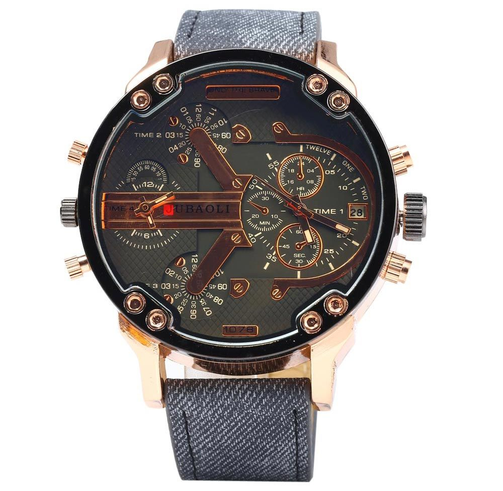 JUBAOLI Double Movt Men Quartz Watch with Date Function