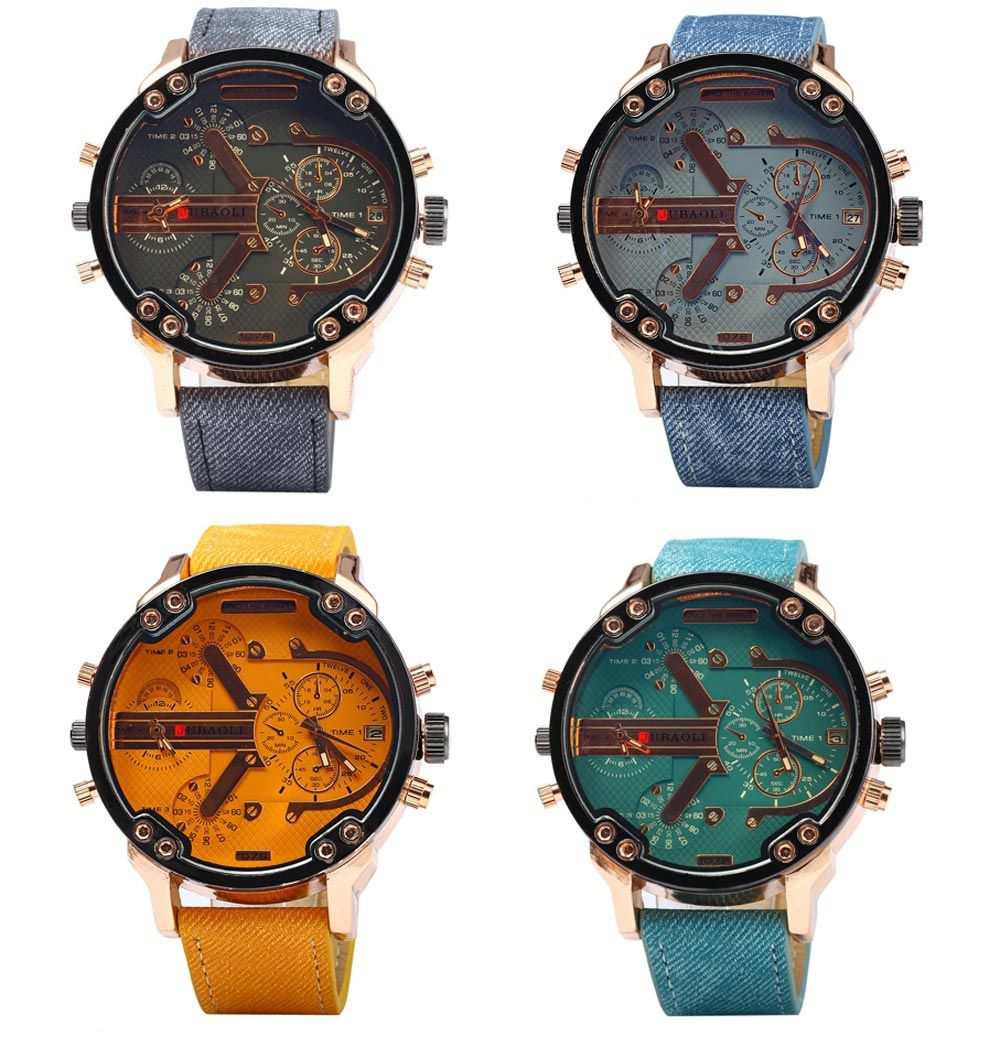 JUBAOLI Double Movt Men Quartz Watch with Date Function