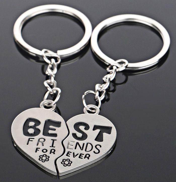 2Pcs Broken Heart Keyring Double Part Best Friends Pendant Charm Gift