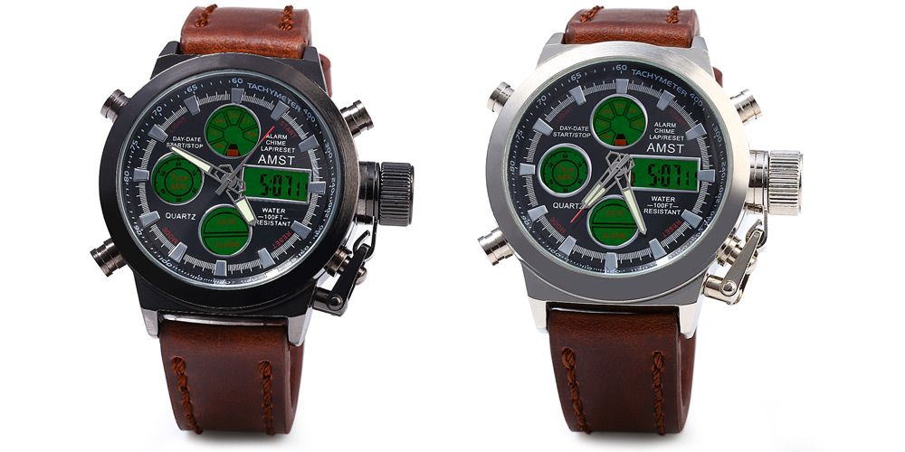 AMST FMD8156 Double Movt Male LED Sports Watch