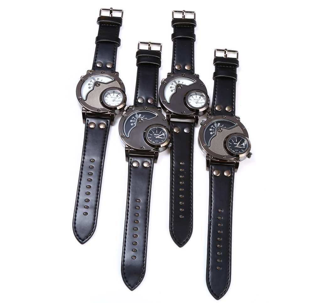 Oulm Men's Quartz Cool Military Wrist Watch Dual Movt Round Shaped Leather Band